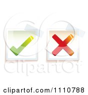 Clipart Right And Wrong Check And X Mark Tags With Taped Corners Royalty Free Vector Illustration
