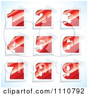 Clipart Red Number Tags With Taped Corners Royalty Free Vector Illustration by michaeltravers
