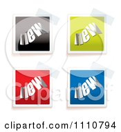 Clipart Colorful NEW Tags Taped To A Surface Royalty Free Vector Illustration