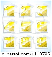 Clipart Yellow Number Tags With Taped Corners Royalty Free Vector Illustration by michaeltravers