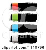 Clipart Grungy Black Ink Banners With Colorful Rectangles On The Left Side Royalty Free Vector Illustration