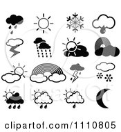 Clipart Black And White Weather Icons - Royalty Free Vector Illustration by Prawny