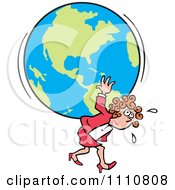 Clipart Burdened Businesswoman Carrying The Weight Of The World On Her Back Royalty Free Vector Illustration