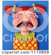 3d Clay Red Haired Girl With Pig Tails Crying Her Eyes Out