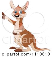 Clipart Cute Kangaroo Pointing Upwards To The Left Royalty Free Vector Illustration by Pushkin