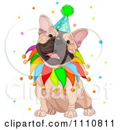 Clipart Cute Happy French Bulldog Wearing A Jester Collar And Party Hat Royalty Free Vector Illustration by Pushkin