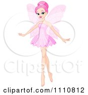 Clipart Beautiful Pink Haired Ballerina Fairy Royalty Free Vector Illustration by Pushkin