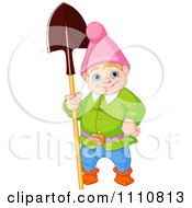 Happy Blond Garden Gnome Standing With A Shovel