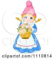 Clipart Happy Blond Garden Gnome Woman Holding A Basket Royalty Free Vector Illustration by Pushkin