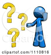 Clipart Blue Guy With Questions Royalty Free CGI Illustration