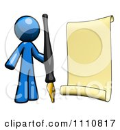 Clipart Register Blue Guy With A Scroll And Pen Royalty Free CGI Illustration
