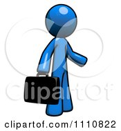 Clipart Job Seeker Blue Guy Carrying A Briefcase Royalty Free CGI Illustration