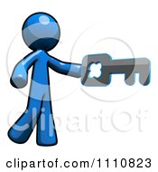 Clipart Login Blue Guy Using A Key Royalty Free CGI Illustration