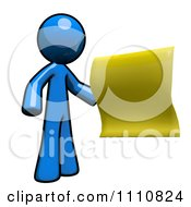 Clipart Blue Guy Holding A Message Note Royalty Free CGI Illustration