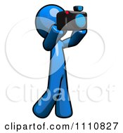 Clipart Blue Guy Taking Pictures Royalty Free CGI Illustration