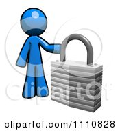 Clipart Privacy Blue Guy With A Padlock Royalty Free CGI Illustration