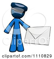 Clipart Contact Blue Guy Holding An Envelope 2 Royalty Free CGI Illustration