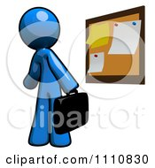 Clipart Job Seeker Blue Guy Viewing Postings At A Bulletin Board Royalty Free CGI Illustration