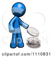 Charitable Blue Guy Donating Change