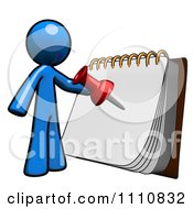 Clipart Organized Blue Guy Planning An Event Royalty Free CGI Illustration