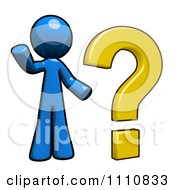 Clipart FAQ Blue Guy With A Question Mark Royalty Free CGI Illustration