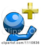 Clipart Add Friend Blue Guy Pointing Royalty Free CGI Illustration