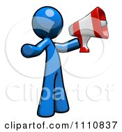 Clipart Advertising Blue Guy Using A Megaphone Royalty Free CGI Illustration