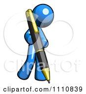 Clipart Blogger Blue Guy Writing Royalty Free CGI Illustration
