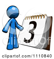 Clipart Blue Guy By A Calendar Royalty Free CGI Illustration
