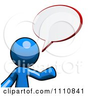 Clipart Blue Guy Talking With A Chat Balloon Royalty Free CGI Illustration