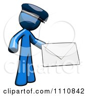 Clipart Contact Blue Guy Holding An Envelope 1 Royalty Free CGI Illustration