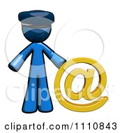 Clipart Contact Blue Guy Mail Man With An At Symbol Royalty Free CGI Illustration