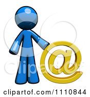 Clipart Contact Blue Guy With An At Symbol Royalty Free CGI Illustration