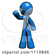 Clipart About Us Blue Guy Pointing Royalty Free CGI Illustration
