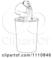 Clipart Outlined Chubby Man Drinking From A Straw On A Giant Fountain Soda Royalty Free Vector Illustration by djart