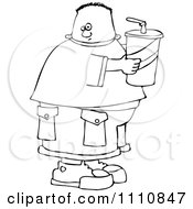 Clipart Outlined Chubby Boy Holding A Fountain Soda Royalty Free Vector Illustration by djart