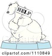 Clipart Polar Bear Holding A Help Sign On An Ice Floe - Royalty Free Vector Illustration by djart
