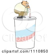Clipart Chubby Man Drinking From A Straw On A Giant Fountain Soda Royalty Free Vector Illustration