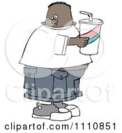 Clipart Chubby Black Boy Holding A Fountain Soda Royalty Free Vector Illustration by djart