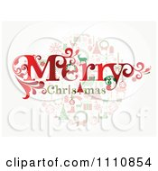 Clipart Merry Christmas Greeting Over Holiday Items Royalty Free Vector Illustration