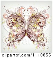 Clipart Ornate Floral Butterfly With Grunge Royalty Free Vector Illustration by OnFocusMedia