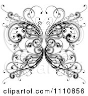 Clipart Ornate Black And White Floral Butterfly Royalty Free Vector Illustration by OnFocusMedia