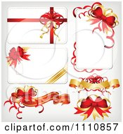 Clipart Christmas Cards And Banners With Red And Gold Ribbons And Bows Royalty Free Vector Illustration