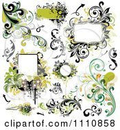Clipart Green Grungy Design Elements Frames And Flourishes Royalty Free Vector Illustration