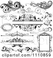 Clipart Black And White Design Elements Frames And Flourishes Royalty Free Vector Illustration