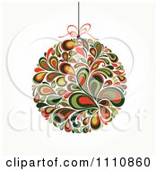 Clipart Floral Christmas Bauble Suspended From A String Royalty Free Vector Illustration by OnFocusMedia