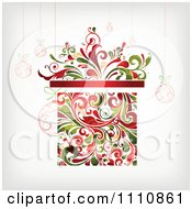 Clipart Floral Christmas Gift Box With Suspended Ornaments Royalty Free Vector Illustration