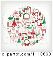 Clipart Sphere Of Red And Green Christmas Items Royalty Free Vector Illustration by OnFocusMedia