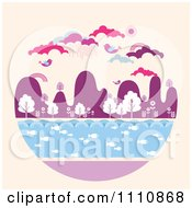 Clipart Circle Landscape With Fish In Water Trees Mountains Birds And Clouds Royalty Free Vector Illustration