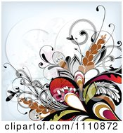 Clipart Floral Background With Grunge And Tribal Flourishes Royalty Free Vector Illustration